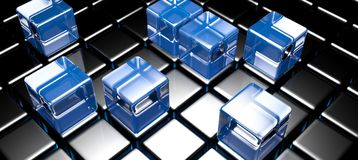 Blue glass cubes on black cubed surface - 3D rendering. A surface made with black glossy cubes and some blue glass cubes over it - 3D rendering illustration Royalty Free Stock Images