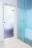 Blue glass door Royalty Free Stock Photo