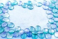 Blue glass drops aqua background Stock Photos