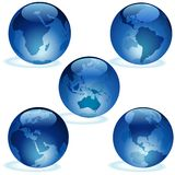 Blue Glass Earth Collection. Colored Illustration, Vector vector illustration