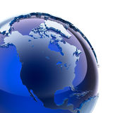 Blue glass globe. A fragment of blue glass globe with stylized faceted continents of frosted glass, a little stand out from the ocean surface royalty free illustration
