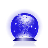 blue glass globe with drops of water Stock Photos
