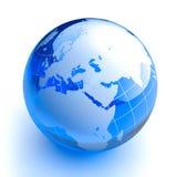 Blue glass globe on white background. Earth in the form of a glass ball blue on a white background stock illustration