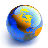Blue glass globe on white background. Earth in the form of a glass ball blue and orange continents on a white background stock illustration
