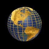 Blue Glass and Gold Metal Globe. Blue glass and gold leaf metal globe on black has translucent and reflective qualities royalty free illustration