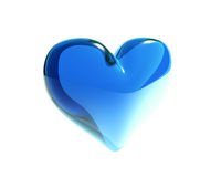 Blue glass heart isolated Royalty Free Stock Image