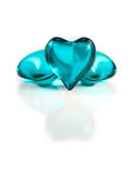 Blue glass hearts Stock Photos