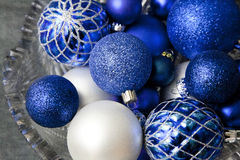 Blue Glass Holiday Ornament Balls in Bowl Stock Photos