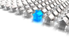 Blue Glass House. 3d rendered image of a miniature Blue Glass House with in front white houses Royalty Free Stock Photo