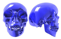 Blue glass human skull. A conceptual 3d render of a blue glass human skull, front side views against an isolated white background Royalty Free Stock Images