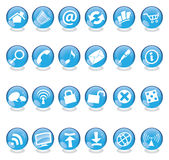 Blue glass icons. Blue web and computer icons set isolated