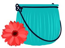 Blue glass jar and beautiful flower. Vector flat illustration. Blue glass jar and beautiful red flower. Vector flat illustration vector illustration