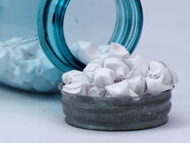 Blue glass jar. With origami stars Royalty Free Stock Photography