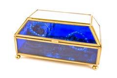 Blue glass jewelry box Royalty Free Stock Image