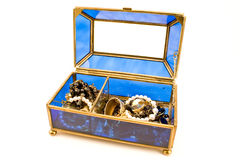 Blue glass jewelry box Royalty Free Stock Photography