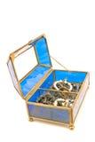 Blue glass jewelry box Royalty Free Stock Photos