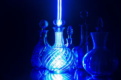 Blue glass. And light painting Stock Photo