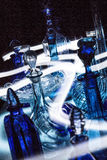 Blue glass. And light painting Royalty Free Stock Photo