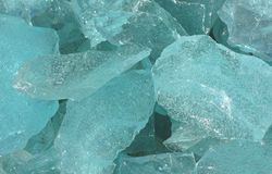 Blue glass lump Royalty Free Stock Images