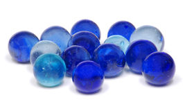 Blue Glass Marbles. Glass Marbles in Blue Shades Isolated on a White Background Stock Image
