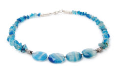 Blue glass necklace Stock Photos
