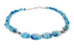 Blue glass necklace Stock Photos
