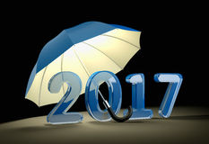 Blue glass number 2017 under umbrella. New year mataphor. 3d illustration Stock Photos