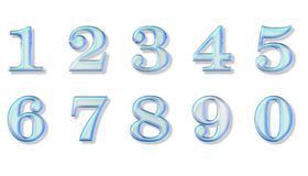 Blue glass numbers. Blue, glass texture numbers, isolated in white Royalty Free Stock Photos
