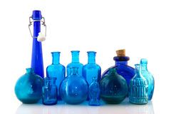 Blue glass objects Stock Images