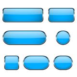 Blue glass oval, round, square buttons with chrome frame. 3d icons. Vector illustration isolated on white background Stock Photo