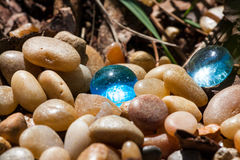 Blue Glass Pebbles Stock Image