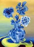 Blue glass rose in a glass vase transformed surrealism Stock Image