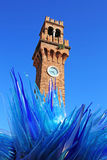 Blue Glass Sculpture Display by Simone Cenedes in Murano Royalty Free Stock Images