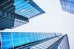 Blue glass skyscrapers Royalty Free Stock Photos