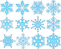 Blue Glass Snowflakes Royalty Free Stock Image