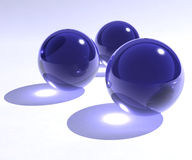 Blue glass spheres Stock Photos