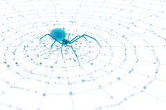 Blue Glass Spider and Web stock photos
