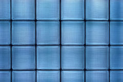 Blue glass tile wall Stock Photo
