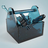 Blue glass toolbox with sapphire tools inside, wrench, spanner, hammer, screwdriver. high quality rendering Stock Image