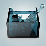 Blue glass toolbox with sapphire tools inside, wrench, spanner, hammer, screwdriver. high quality rendering royalty free illustration