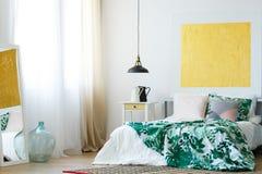 Handmade accessories in contemporary bedroom stock photos