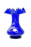 Blue glass vase. On a white background Stock Image