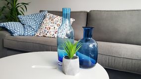 Blue glass vases  for home decoration Royalty Free Stock Image