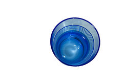 Blue glass view from the top. On the white background royalty free stock photos