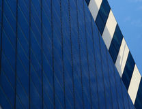 Blue glass wall of contemporary skyscraper , business concept Stock Photo