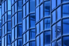 Blue Glass Wall Of Building Royalty Free Stock Photos
