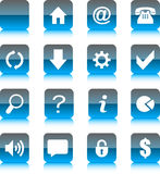 Blue Glass Web Icons. Blue Icon Set for Web Royalty Free Stock Image