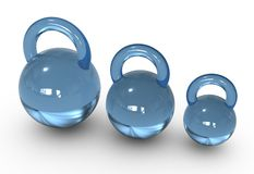 Blue glass weights. barbell. Royalty Free Stock Image
