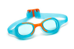 Blue glasses for swim on white background Stock Photos