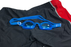 Blue Glasses with swimming Short for swimming. Isolated on a white background stock image